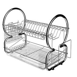 Homdox 2-Tier Dish Rack and Drainboard Set, Stainless Steel