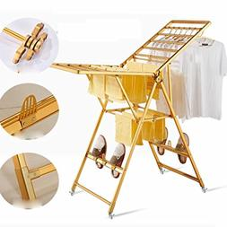 LyMei 2 Tier Drying Rack Folding Rolling 4-Wheels Laundry Dr
