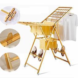 LyMei 2 Tier Drying Rack Folding Rolling 4-Wheels Laundry Dr