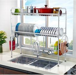 2-Tier Drying Rack for Kitchen Stainless Steel Dish Dryer Si