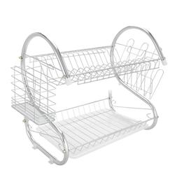 2 Tier Kitchen Dish Cup Drying Rack Drainer Dryer Cultery Ho