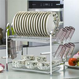 2 Tier Kitchen Dish Drying Rack Holder Basket Plated Iron Ho