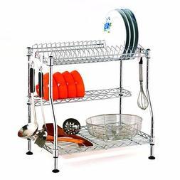 3 Tier Dish Drying Rack Organizer Kitchen Removable Drain Bo