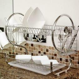 2-Tier Multi-function Stainless Steel Dish Drying Rack Bowl