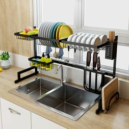 2-Tier Over Sink Dish Drying Rack Stainless Steel Kitchen Sh