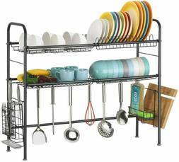 2 Tier Over the Sink Dish Drying Rack Dish and Drainboard Se