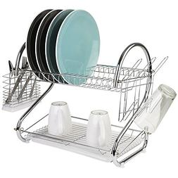Home Basics 2 Tier S Shape Dish Drainer, Silver Chrome