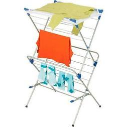 2-Tier Silver/Blue Steel Mesh Top Drying Rack Laundry Room C