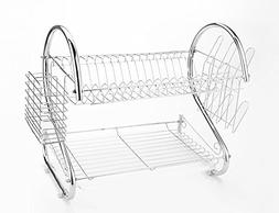 2 Tier Space Saved Stainless Steel Dish Drying Rack Drainer