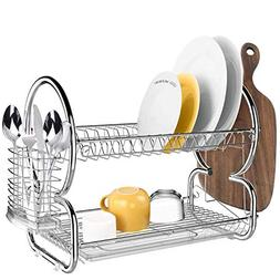 Homdox 2 Tier Stainless Steel Chrome Kitchen Dish Rack Drain