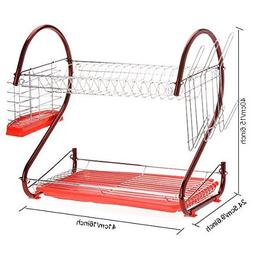 Hindom 2 Tier Stainless Steel Dish Drying Rack Drainer Kitch