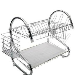 2-Tier Stainless Steel Dish Drying Rack Bowl Cup Drainer Str