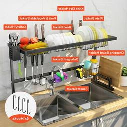 2 Tier Stainless Steel Dish Drying Rack Over Sink Kitchen Cu
