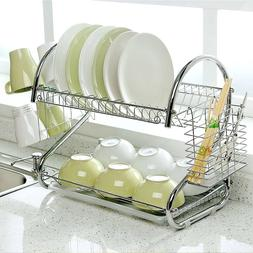 2-Tier Stainless Steel Dish Drying Rack Cup Drainer Strainer