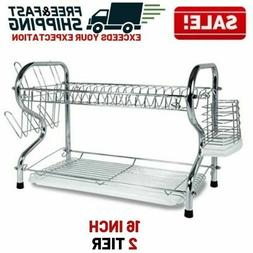 2 Tier Stainless Steel Dish Rack Cup Drying Drainer Cutlery