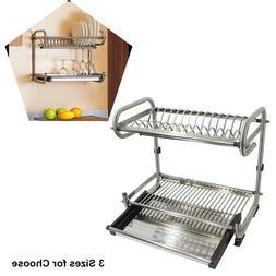 2 Tier Stainless Steel Dish Rack Drying Utensil Plate Holder