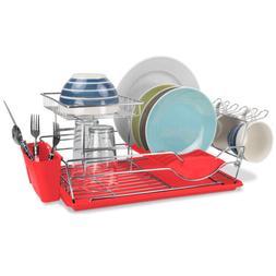 Home Basics 2-Tier Steel Red Kitchen Sink Dish Drainer Dryin
