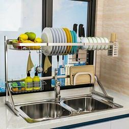 2 tier utensils dish drying rack over