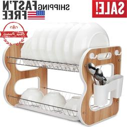 "2 Tier Wood Dish Rack and Drain Board, 17""x14""x10.2"", Thicke"