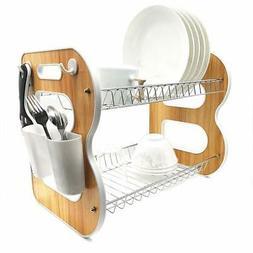 "2-Tier Wood Dish Rack and DrainBoard, 17""x15""x10.2"" Kitchen"