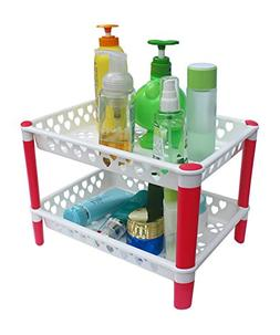 Honla 2-Tiered Plastic Bathroom Shelves Organizer with Perfo