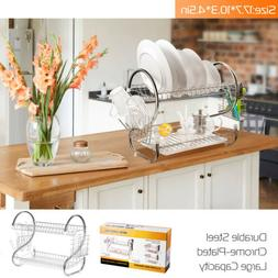 2 Tier Dish Drainer Drying Rack Kitchen Storage Cutlery Hold