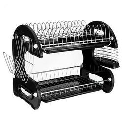New Home Basics 2 Tier Black Dish Drainer Drying Rack Washin