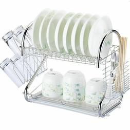 2 Tiers Kitchen Dish Cup Drying Rack Drainer Cultery Storage