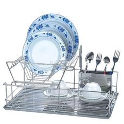 2 Tiers Kitchen Dish Cup Drying Rack Drainer Dryer Tray Cutl