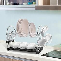 "Sallymall 2-Tier Dish Rack and DrainBoard, 20.2"" x15"" x10"" K"