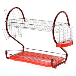 Red S Shaped 2-Tier Dish Drying Rack Kitchen Dish Drainer Ho