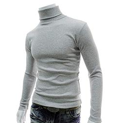 2018 Mens Sweaters Casual Male Turtleneck Man's Black Solid