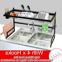 """25/34""""  Over Sink Dish Drying Rack Drainer Stainless Steel K"""