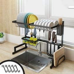 2-Tier Dish Drying Rack Over Sink Display Drainer Kitchen Ut
