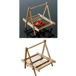 2pcs Bamboo Folding Basket Handmade Craft Food Drying Rack T