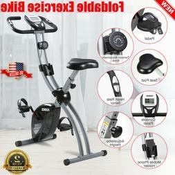 Foldable Stationary Upright Folding Exercise Bike Workout In