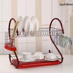 2Tier Multi-function Stainless Steel Dish Drying Rack+Cup Dr
