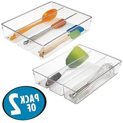mDesign 3 Compartment Kitchen Cabinet Drawer Organizer Tray