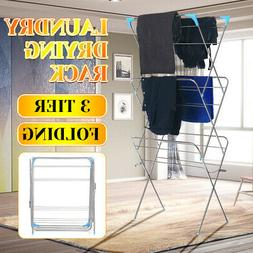 3-Layer Folding Clothes Drying Airer Rack Indoor Outdoor Lau