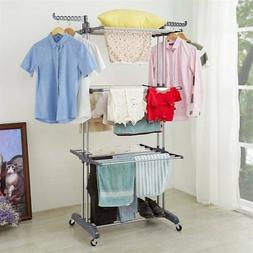 3-layer Portable Practical Clothes Dryer Drying Rack Cloth H