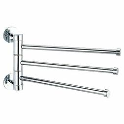 3 Swing Out Arms Wall Mounted Towel Bars Drying Rack, Chrome