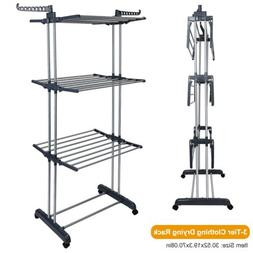 3 Tier Clothes Drying Rack Laundry Organizer Folding Rolling