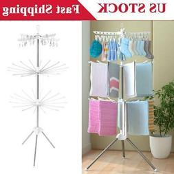 3-Tier Clothes Drying Rack Line Laundry Dryer Indoor Retract