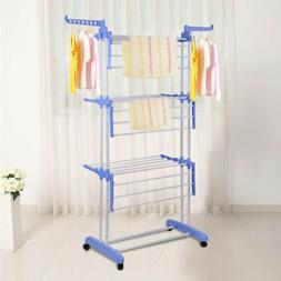 3 Tier Clothes Drying Rack with 2 Side Wings Folding Laundry