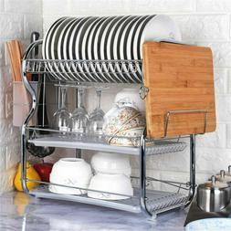 3 Tier Dish Drying Rack Large Kitchen Drainer Stainless Stee