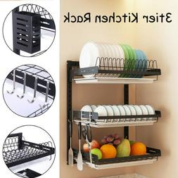3 Tier Dish Drying Rack Organizer Home Kitchen Collection Sh