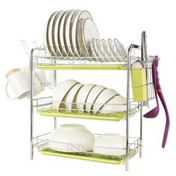 3 Tier Dish Drying Rack Over-the-Sink Kitchen Dish Drainer R