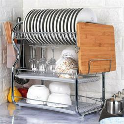 3-Tier Dish Plate Cup Drying Rack Organizer Drainer Alloy St