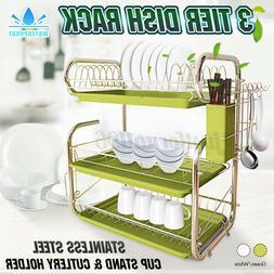 3-Tier Dryer Kitchen Dish Cup Drying Rack Holder Sink Draine