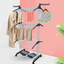 3-Tier Foldable Towel Rack Laundry Cloth Storage Holder Dryi